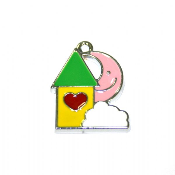 1pce x 19*19mm Rhodium plated green roof house w/pink colour moon face enamel charm - SD03 - CHE1121